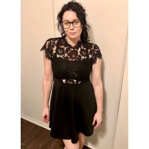 Black Mini Dress with Lace Top